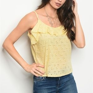 Cheeky Yellow Eyelet Top Tie Back